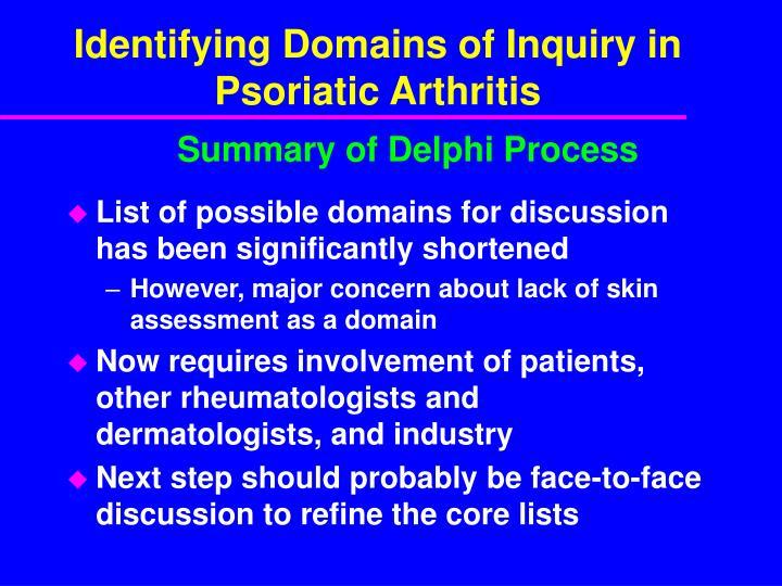 Identifying Domains of Inquiry in Psoriatic Arthritis