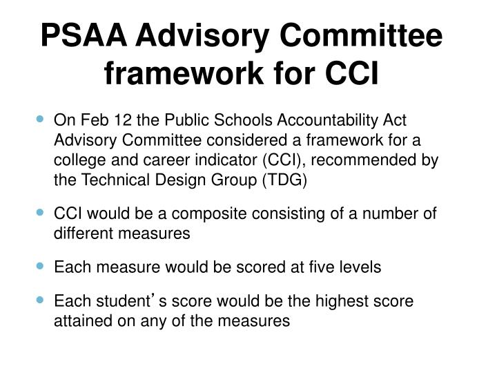 PSAA Advisory Committee framework for CCI