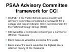 psaa advisory committee framework for cci
