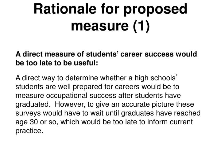 Rationale for proposed measure (1)