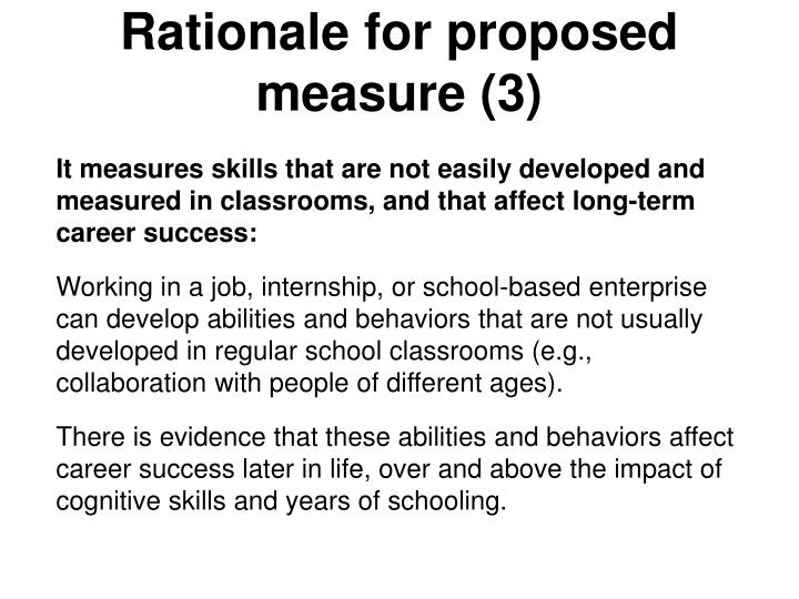 Rationale for proposed measure (3)