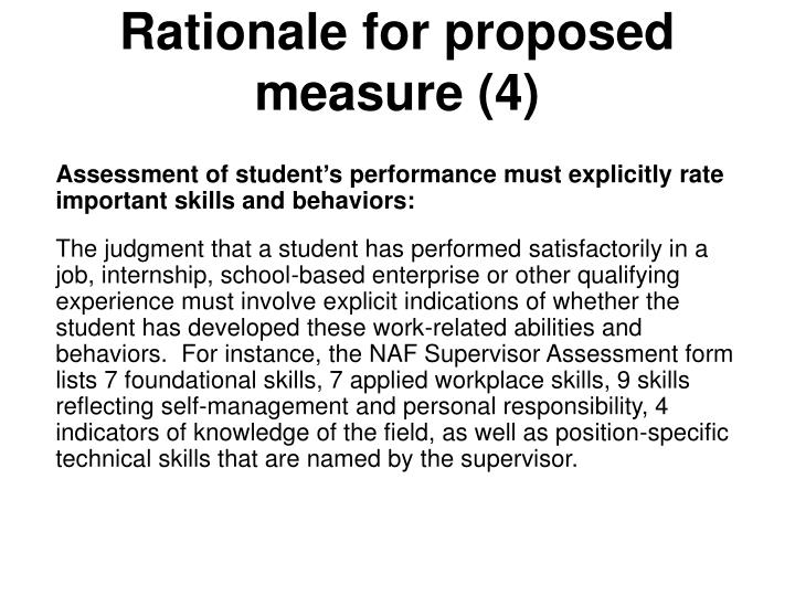 Rationale for proposed measure (4)