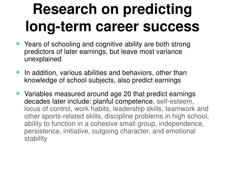 Research on predicting long-term career success