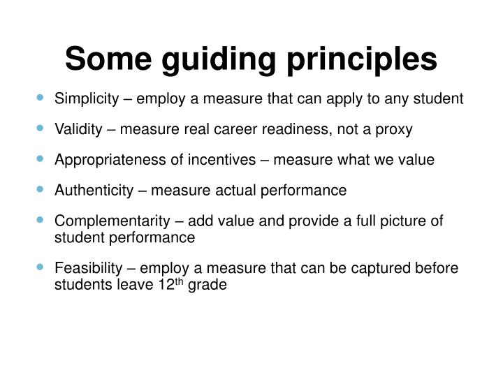 Some guiding principles