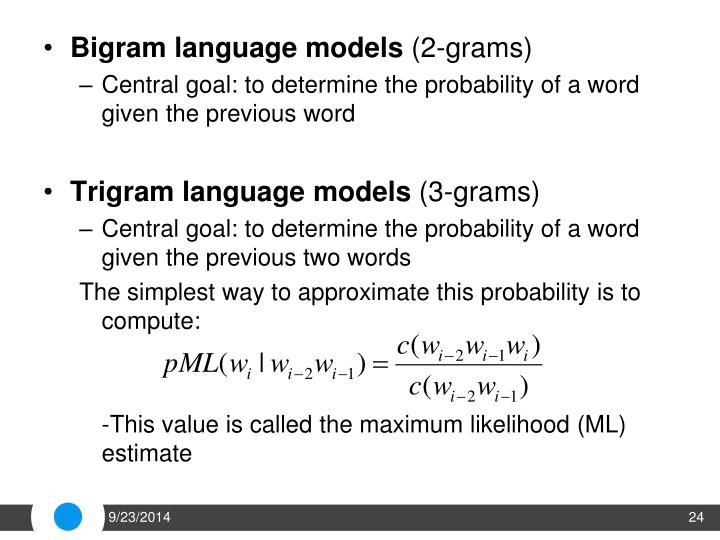 Bigram language models