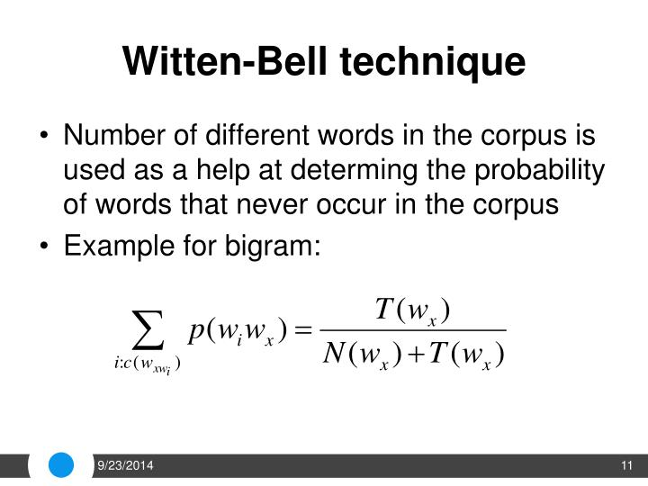 Witten-Bell technique