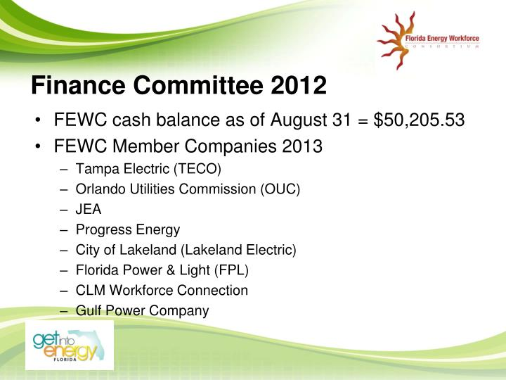 Finance Committee 2012