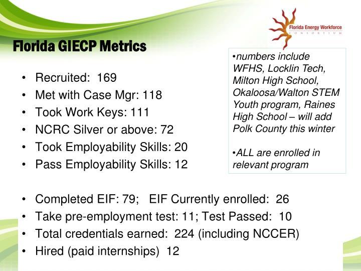 Florida GIECP Metrics
