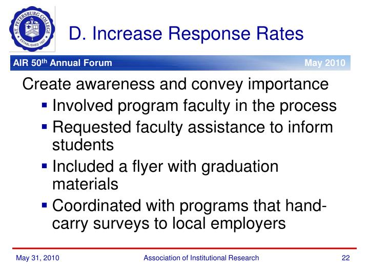 D. Increase Response Rates