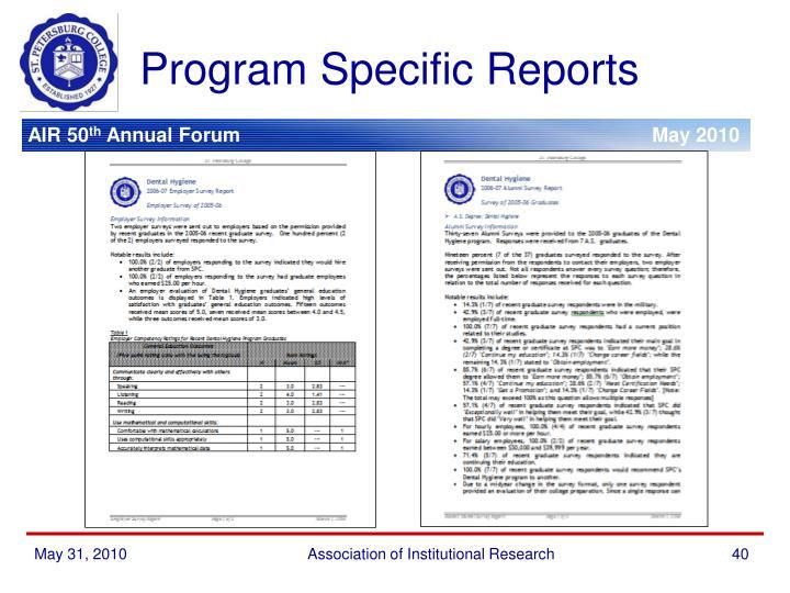 Program Specific Reports