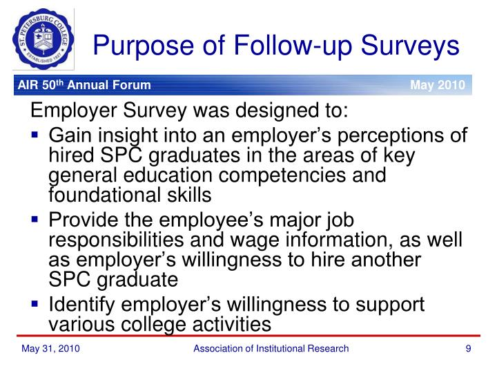 Purpose of Follow-up Surveys