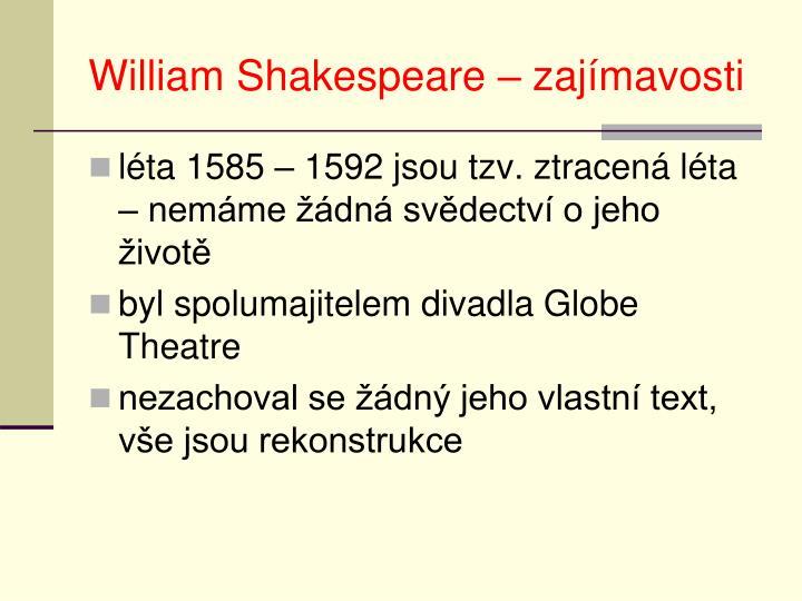 William Shakespeare – zajímavosti