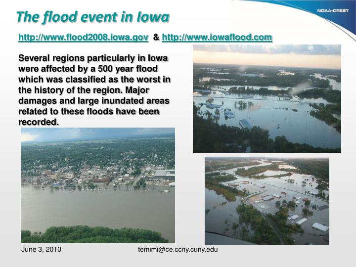 The flood event in Iowa