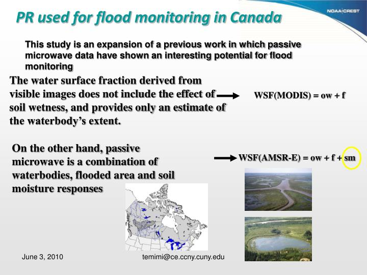 PR used for flood monitoring in Canada