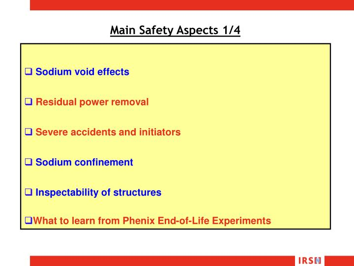 Main Safety Aspects 1/4