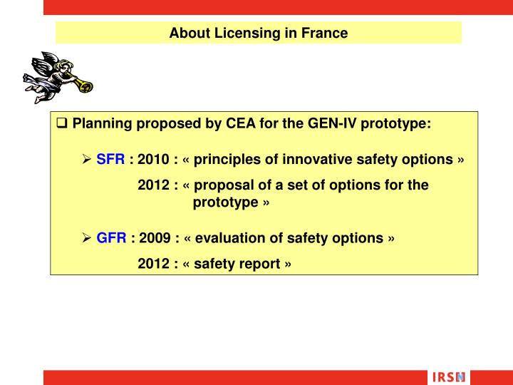 About Licensing in France