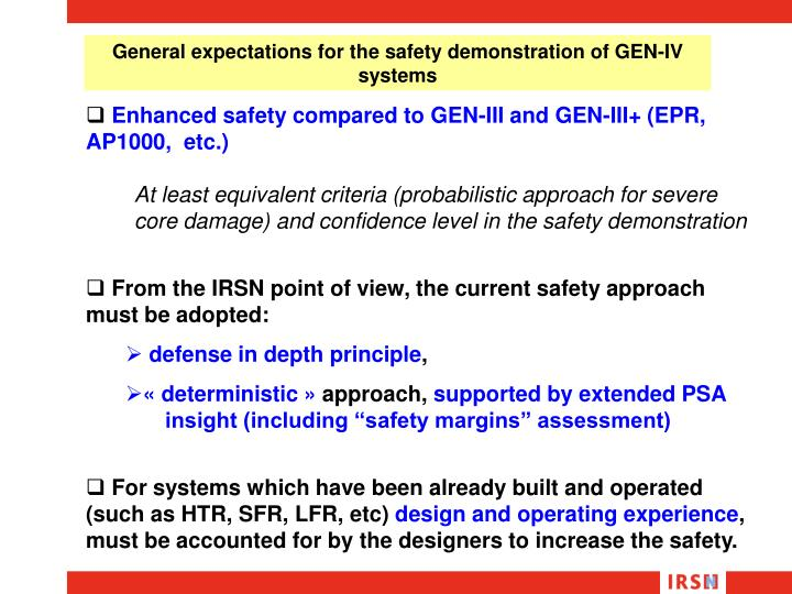 General expectations for the safety demonstration of GEN-IV systems