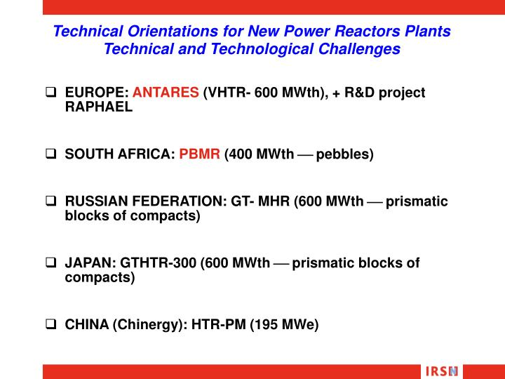 Technical Orientations for New Power Reactors Plants Technical and Technological Challenges