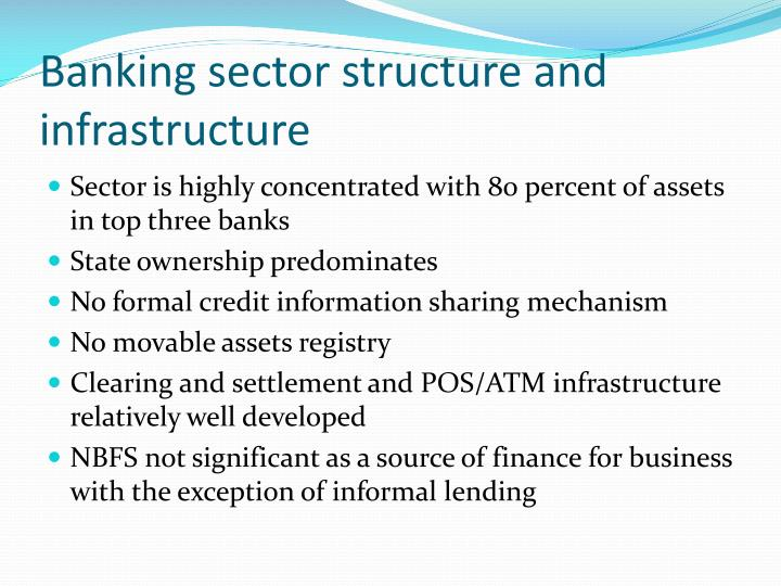 Banking sector structure and infrastructure