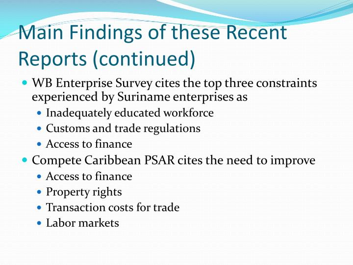 Main Findings of these Recent Reports (continued)