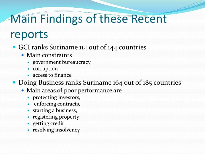 Main Findings of these Recent reports