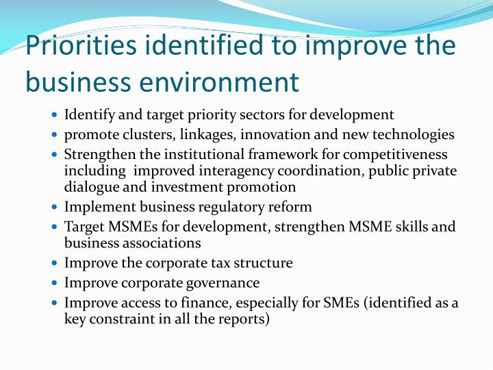 Priorities identified to improve the business environment