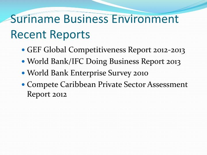 Suriname Business Environment Recent Reports