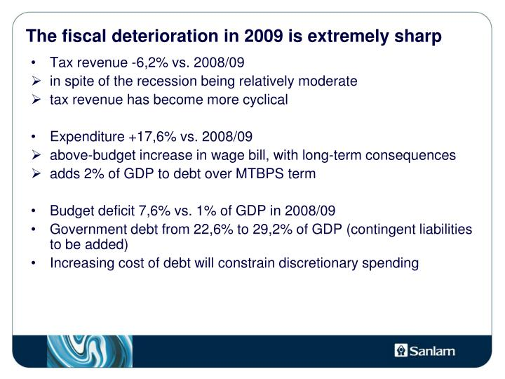 The fiscal deterioration in 2009 is extremely sharp