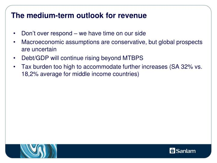 The medium-term outlook for revenue