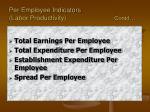 per employee indicators labor productivity contd
