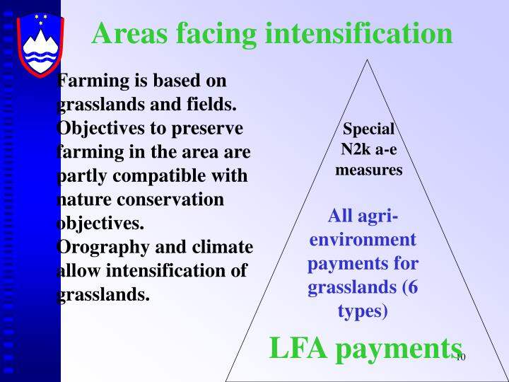 Areas facing intensification