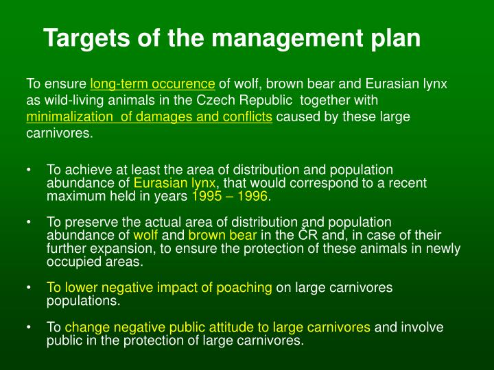 Targets of the management plan