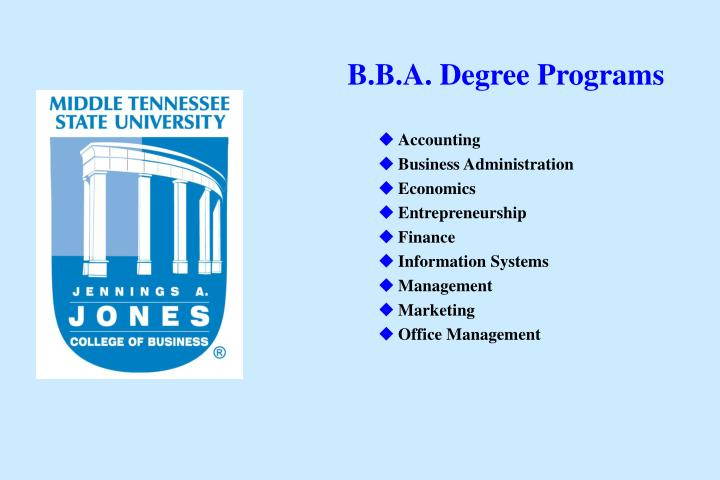 B.B.A. Degree Programs