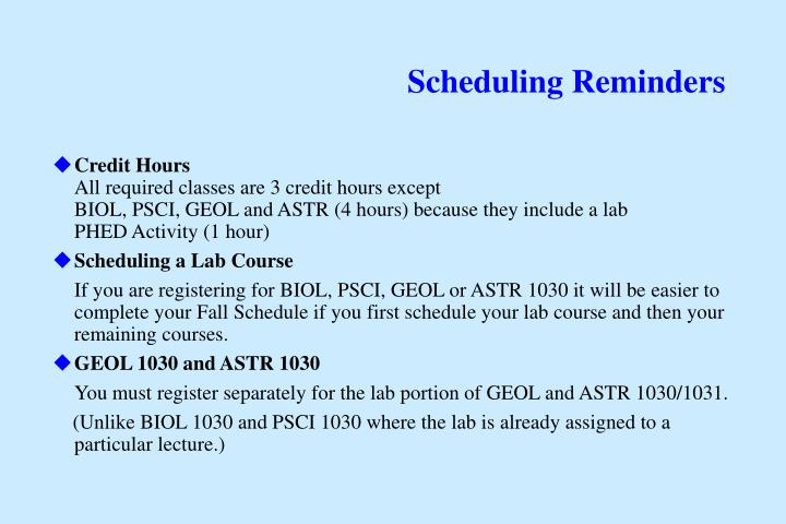 Scheduling Reminders