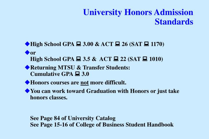 University Honors Admission Standards