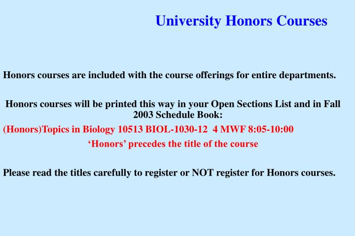 University Honors Courses