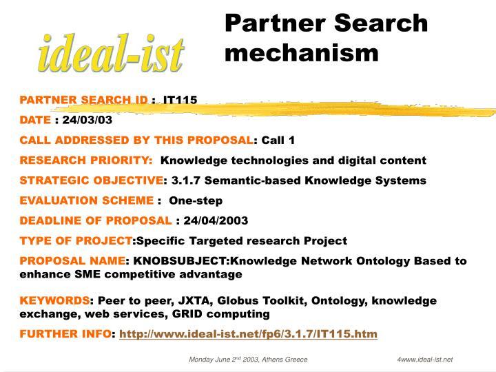 Partner Search     mechanism
