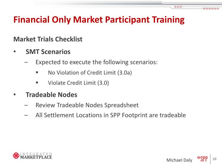 Financial Only Market Participant Training