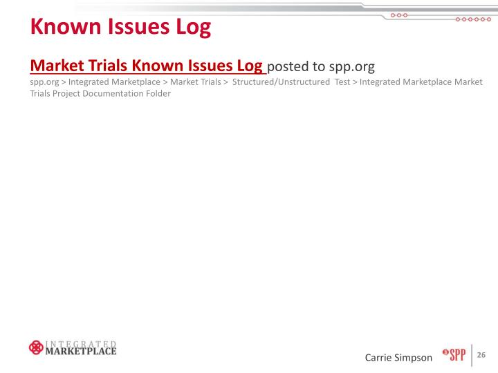 Known Issues Log