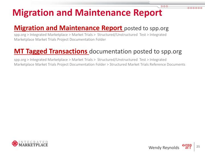 Migration and Maintenance Report