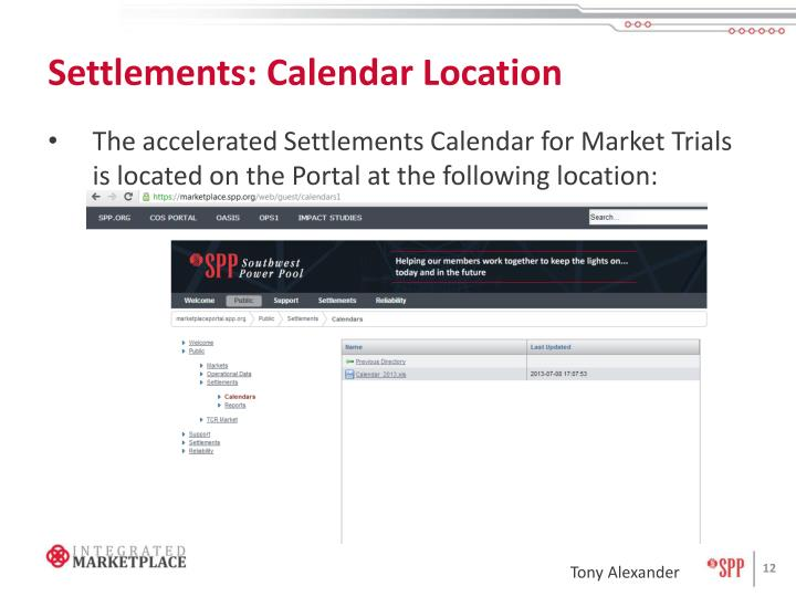 Settlements: Calendar Location