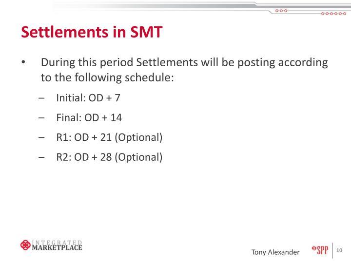 Settlements in SMT