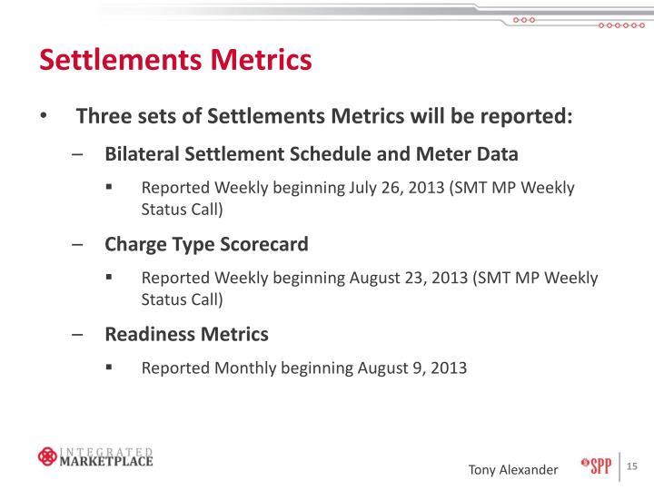 Settlements Metrics