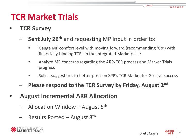 TCR Market Trials
