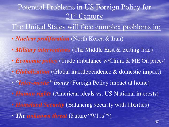 Potential Problems in US Foreign Policy for