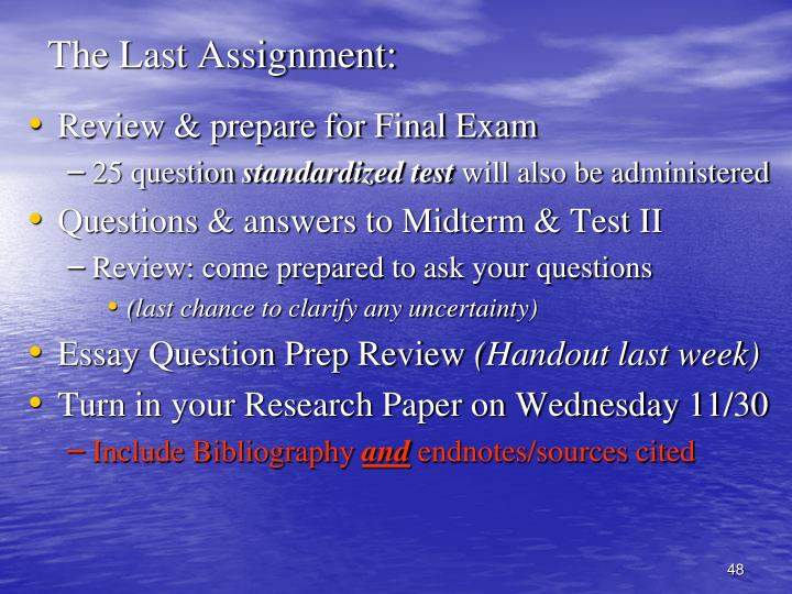 The Last Assignment: