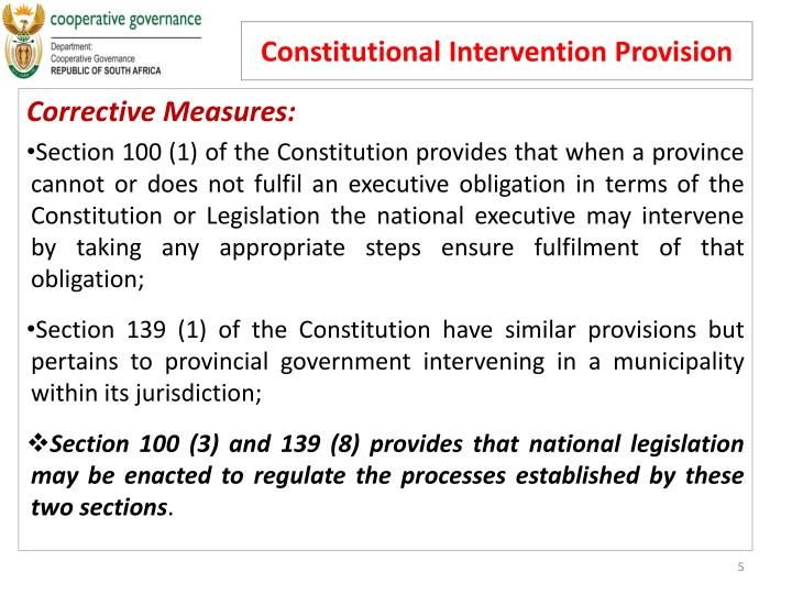 Constitutional Intervention Provision