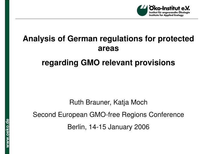 Analysis of German regulations for protected areas