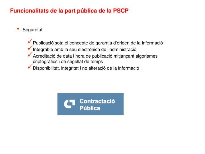 Funcionalitats de la part pública de la PSCP