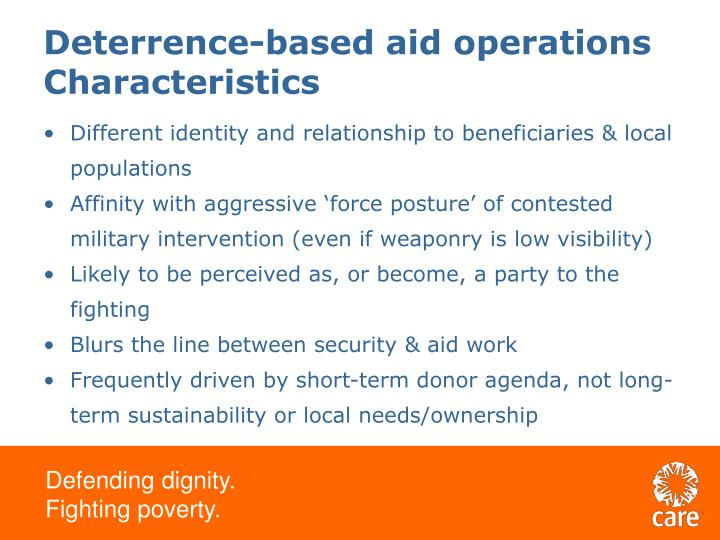Deterrence-based aid operations